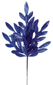 "23"" Plastic Glittered Bay Leaf Spray - 8"" Stem - Royal Blue"
