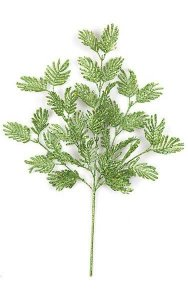 "23"" Plastic Glittered Fern Spray - 7.5"" Stem - 12"" Width - Green"