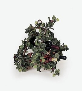 Earthflora's 15 Inch Iron Wine Rack W/ Ivy