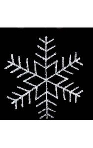 "24"" Acrylic Flat Snowflake Ornament - Double-Sided - Clear"