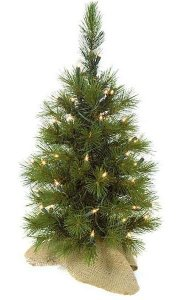 "24"" Jack Pine Christmas Tree - 60 Green Tips - Clear Lights - Brown Burlap Base"