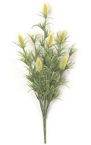 "24"" Plastic Flocked Hare's Tail Grass Bush - 7 Flowers - Lt Yellow Green"