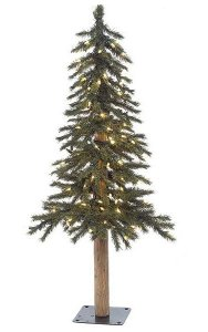 3' PVC Alpine Christmas Tree - Natural Trunk - 187 Tips - 100 Clear Lights
