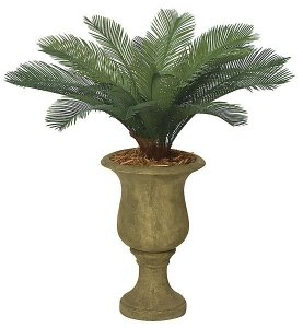 "A-0018 3' Cycas Artificial Palm Cluster - 18 Fronds - 44"" Width- Tutone Green- Custom Made"