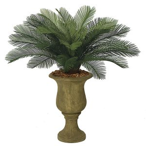 "A-0024  3' Outdoor Cycas Palm Cluster - 24 Fronds - 44"" Width - Tutone Green- Custom Made"