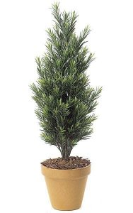 "3' Outdoor Podocarpus Bush - Synthetic Trunk - 19"" Width - Tutone Green"
