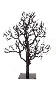 Glittered Twig Christmas Tree with Metal Stand - Branches Unassembled - Black