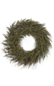 "30"" Plastic Buckler Fern Wreath - Double Ring - Brown/Green Leaves"