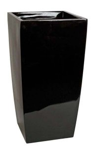 "30.5"" Fiberglass Square Pot - 16.25""- Gloss Black"