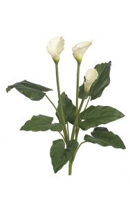 "32"" Calla Lily Bush - Soft Touch - 7 Leaves - 3 Flowers - White"
