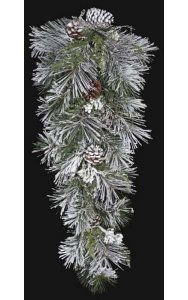 "32"" Flocked Longleaf Swag with Pine Cones - Silver Ice Twigs"
