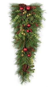 "32"" PVC Long Needle Pine Teardrop - Red Balls, Plastic Berries, Mixed Foliage, Pine Cone"