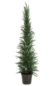 "33"" Plastic Pine Slim Christmas Tree with Plastic Pot - Green - 4.5"" x 5"" Pot"