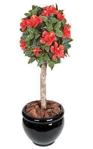 3.5' Plastic Hibiscus Ball Topiary - Natural Trunk - Orange - Custom Made