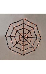 "36"" Prelit Wire Spider Web - Black - 100 Orange 5mm LED Lights"