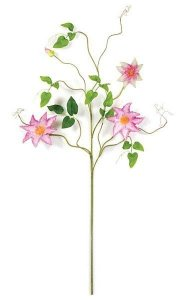 Clematis Spray - 18 Green Leaves - 3 Pink/Cream Flowers - 1 Bud