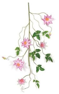 "36"" Clematis Vine - 24 Green Leaves - 5 Pink/Cream Flowers - 2 Buds"