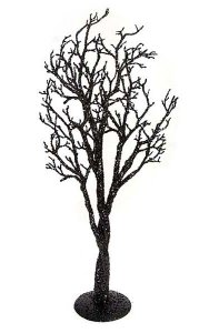 "39"" x 16"" Glittered Statue Tree with Metal Stand"