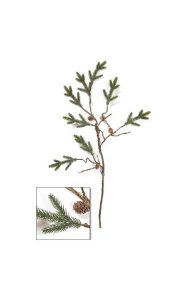 "39"" Plastic Pine Twig with Pine cones - Green"