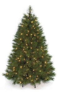 "C-91410   4.5' Arolla Pine Christmas Tree - Pine Cones - 36"" Width - Wire Stand"