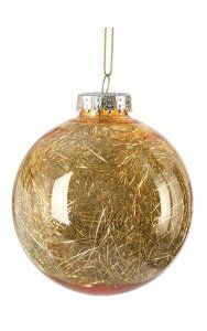"4"" Ball Ornament with Tinsel - Gold"
