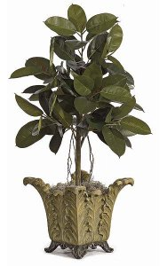 4' Rubber Plant - Natural Trunk -81 Leaves - Green -Weighted Base