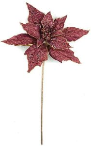 "44"" Giant Beaded Poinsettia Stem - 24"" Flower - 33"" Stem - Gold/Burgundy"