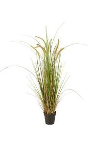 "46"" PVC Foxtail Grass Bush - 7 Cream Foxtails - Cream/Green"