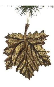 "5.5"" x 5"" Grape Leaf (Resin) Ornament - Antique Gold"