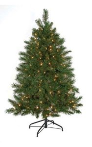5' Noble Flat Christmas Tree - 286 Green Tips - 150 Warm White 5mm LED Lights