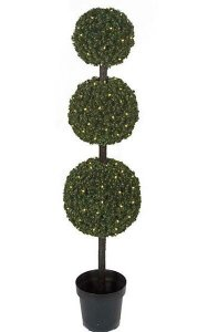 5' Outdoor PVC Pine Triple Ball Topiary - 150 Warm White 5mm LED Lights