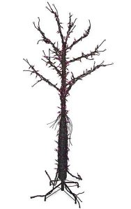 "6' Ghost Tree - Black Tips - 250 Purple Indoor Lights - 38"" Width"