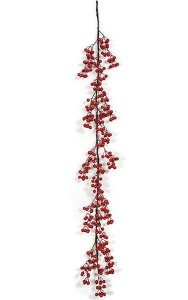 6' Gooseberry Garland - Large Red Berries - 15 Berry Clusters