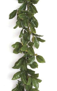 6' Magnolia Garland - Green/Red Edge