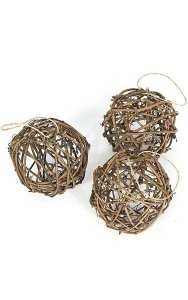 "6"" Rattan Ball - Natural Brown - 3 pcs per PVC Tube"