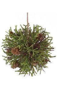 Pine Cone Ball - Plastic Pine Leaves - Natural Sticks and Pine Cones