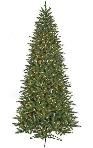 7.5' Cambridge Spruce Christmas Tree - Slim Size - 650 Clear Lights - Wire Stand