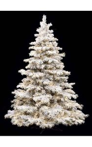 7.5' Heavy Flocked/Glittered Pine Christmas Tree - Full Size - 800 Clear Lights