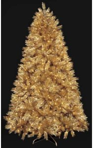 9' Gold Tinsel Laser Christmas Tree - Full Size - Clear Lights - Wire Stand