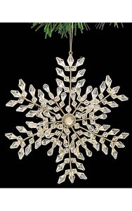 "7"" Acrylic Snowflake Ornament with Jewels - Double-Sided - Champagne"