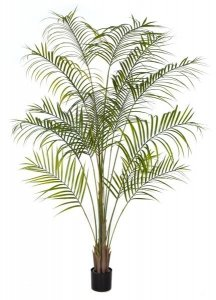 7' Plastic Areca Palm Tree - 14 Fronds - Green Leaves- Weighted Base