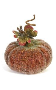 "7"" x 9"" Beaded Pumpkin with Leaves and Curls - Fall Orange"