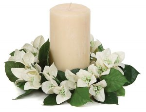 "8"" Bougainvillea Candle Ring - 37 White Flowers - 27 Green Leaves"
