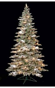 9' Flocked Vale Pine Christmas Tree with Pine Cones - Medium Size - Wire Stand