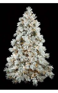 9' Heavy Flocked Long Twig Pine Christmas Tree - Full Size - Warm White LED
