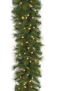 "9' Mika Pine Garland - 150 Warm White 5.5mm LED Lights - 16"" Width"