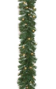 9' Monroe Pine Garland - 180 Green Tips - 50 Clear Lights