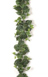9' Philodendron Garland - 186 Leaves - Green
