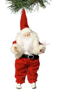 "9"" x 4"" Santa Ornament - Red/White"