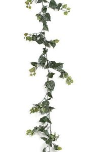 9.5' Bougainvillea Garland - 314 Green Leaves